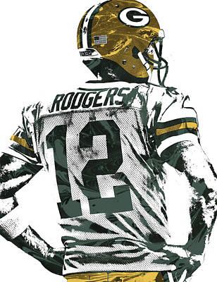 Football Mixed Media - Aaron Rodgers Green Bay Packers Pixel Art 5 by Joe Hamilton