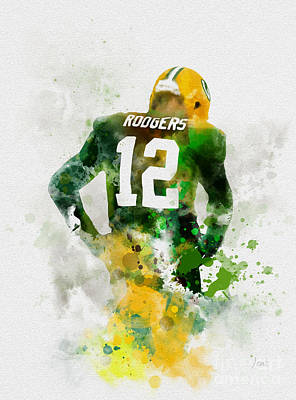 Mixed Media - Aaron Rodgers by Rebecca Jenkins