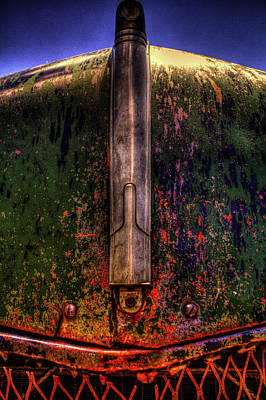 Photograph - Abandoned 1937 Chevrolet Coupe Hood Detail by Roger Passman