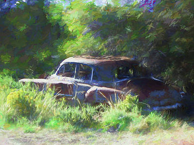 Digital Art - Abandoned 1950 Chevy Dop by David King