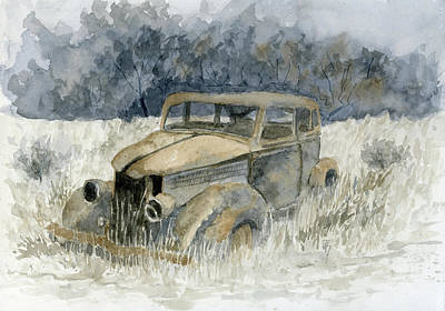 Painting - Abandoned 36 Ford Sedan by David King