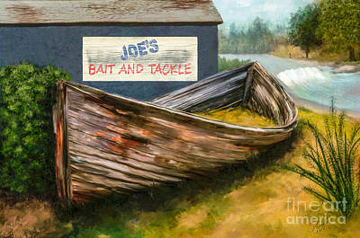 Painting - Painting Of Abandoned And Rotted Out Boat   by Sherry  Curry