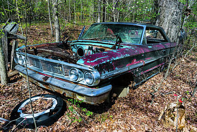 Photograph - Abandoned Antique Car In Woods by Douglas Barnett