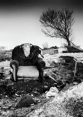 Photograph - Abandoned Armchair And Leaning Tree Monochrome by John Williams
