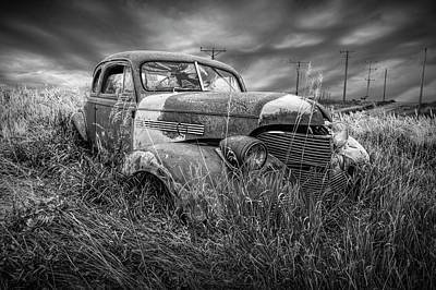Photograph - Abandoned Auto With Smashed Windshield In Black And White by Randall Nyhof