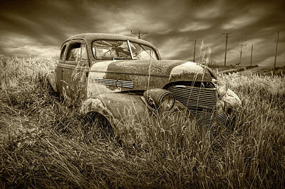 Photograph - Abandoned Auto With Smashed Windshield In Sepia Tone by Randall Nyhof