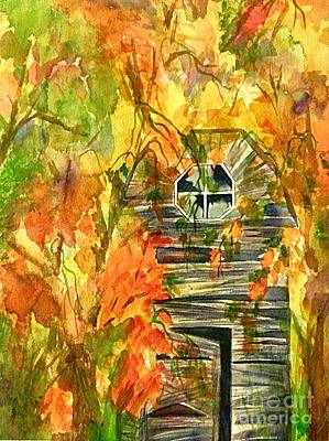 Painting - Abandoned Barn Autumn by Ellen Levinson