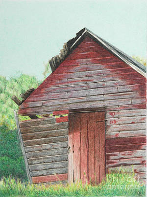 Red Barns Drawing - Abandoned Barn by Glenda Zuckerman