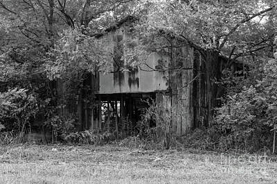 Photograph - Abandoned Barn Grayscale by Jennifer White