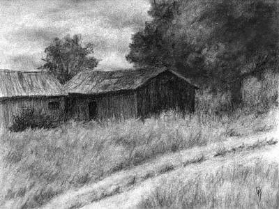 Drawing - Abandoned Barns by David King