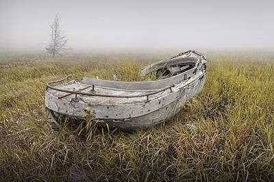 Photograph - Abandoned Boat In The Grass On A Foggy Morning by Randall Nyhof