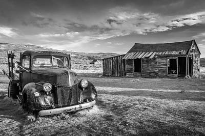 Bw Photograph - Abandoned Building And Car - Bodie California Photograph by Duane Miller