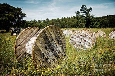 Battlefield Photograph - Abandoned Cable Reels by Carlos Caetano