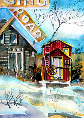 Winter Roads Drawing - Abandoned Caboose by Mindy Newman