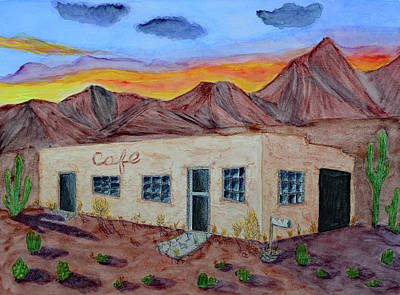 Mountain Sunset Mixed Media - Abandoned Cafe In The Desert by Lisa Von Biela
