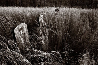 Headstones Photograph - Abandoned Cemetery Midwest by Steve Gadomski