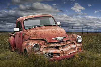 Abandoned Chevy Pickup Truck On The Prairie Art Print by Randall Nyhof