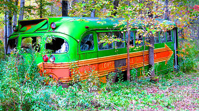 Photograph - Abandoned Church Bus by Kathryn Barry