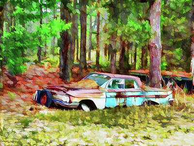 Old Junk Car Painting - Abandoned Classic Car by Lanjee Chee