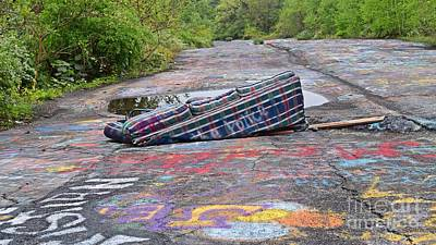 Photograph - Abandoned Couch On The Graffiti Highway by Ben Schumin