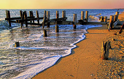 Photograph - Abandoned Dock At Sunset Beach by Carolyn Derstine