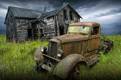 Photograph - Abandoned Dodge Truck And Farm House by Randall Nyhof