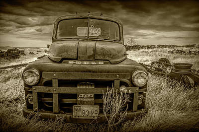 Photograph - Abandoned Dodge Truck In Infrared Sepia by Randall Nyhof