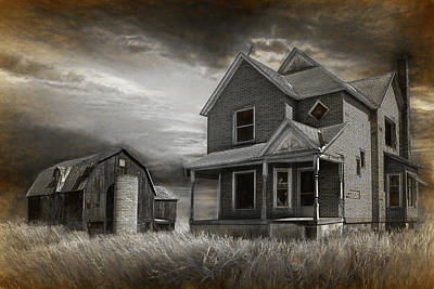 Sepia Vintage Farmhouse Photograph - Abandoned Farm In Black And White by Randall Nyhof