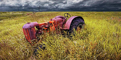 Photograph - Abandoned Farm Tractor On The Prairie Panorama by Randall Nyhof