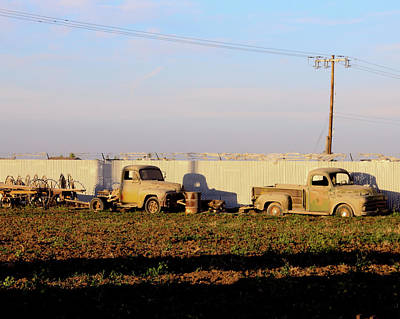 Antique Hay Rake Photograph - Abandoned Farm Trucks Tracy Ca by Troy Montemayor