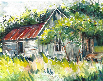 Painting - Abandoned Farmhouse In The Ozark Mountains On The Gravel Road To Hawk's Bill Crag At Whitaker Point by Jacki Kellum
