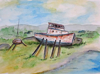 Painting - Abandoned Fishing Boat by Clyde J Kell
