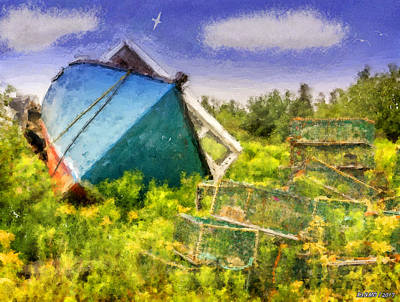 Digital Art - Abandoned Fishing Boat In Feltzen South by Ken Morris
