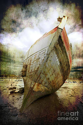 Old Digital Art - Abandoned Fishing Boat by Meirion Matthias