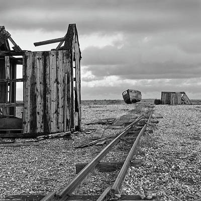 Photograph - Abandoned Fishing Huts In Black And White by Gill Billington