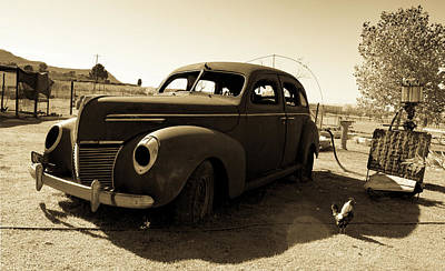 Photograph - Abandoned Ford Vintage Classic - Sepia by RayZa Photography