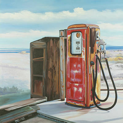 Rusted Cars Painting - Abandoned Gas Pump by Atelier B Art Studio