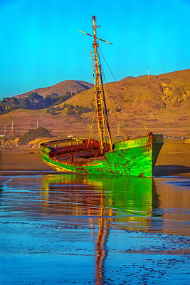 Abandoned Green Boat Art Print by Garry Gay