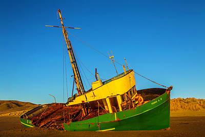 Abandoned Green Fishing Boat Art Print