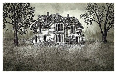 Old Home Place Drawing - Abandoned Guyitt House by Jonathan Baldock
