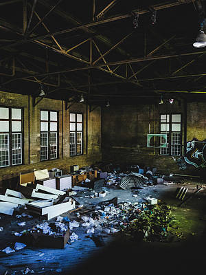 Photograph - Abandoned Gymnasium Interior by Dylan Murphy