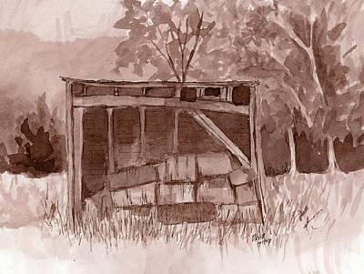 Bales Painting - Abandoned Hay Shelter by David King