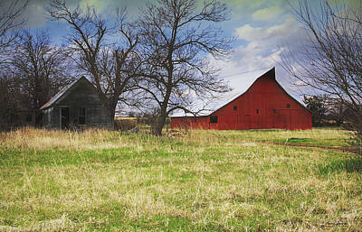 Photograph - Abandoned House And Old Red Barn by Anna Louise