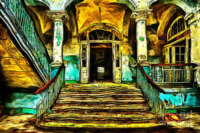 Painting - Abandoned House Stairs by Milan Karadzic