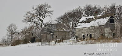 Barns In Snow Photograph - Abandoned In Iowa by Laurie Wilcox