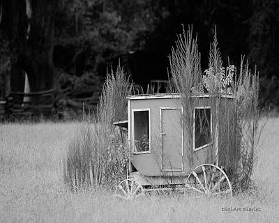 Digital Art - Abandoned In The Field Black And White by DigiArt Diaries by Vicky B Fuller