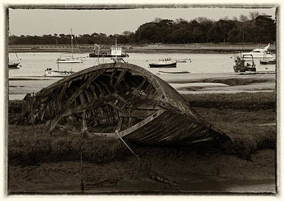 Photograph - Abandoned In The Marsh In Sepia by Leah Palmer