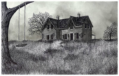 Old Home Place Drawing - Abandoned Memories by Jonathan Baldock