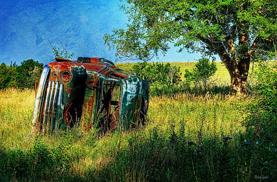 Photograph - Abandoned Old Car In Prairie by Anna Louise