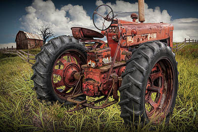 Photograph - Abandoned Old Farmall Tractor In A Grassy Field by Randall Nyhof